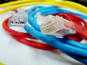 Ethernet cable, red-blue, tilt-shift